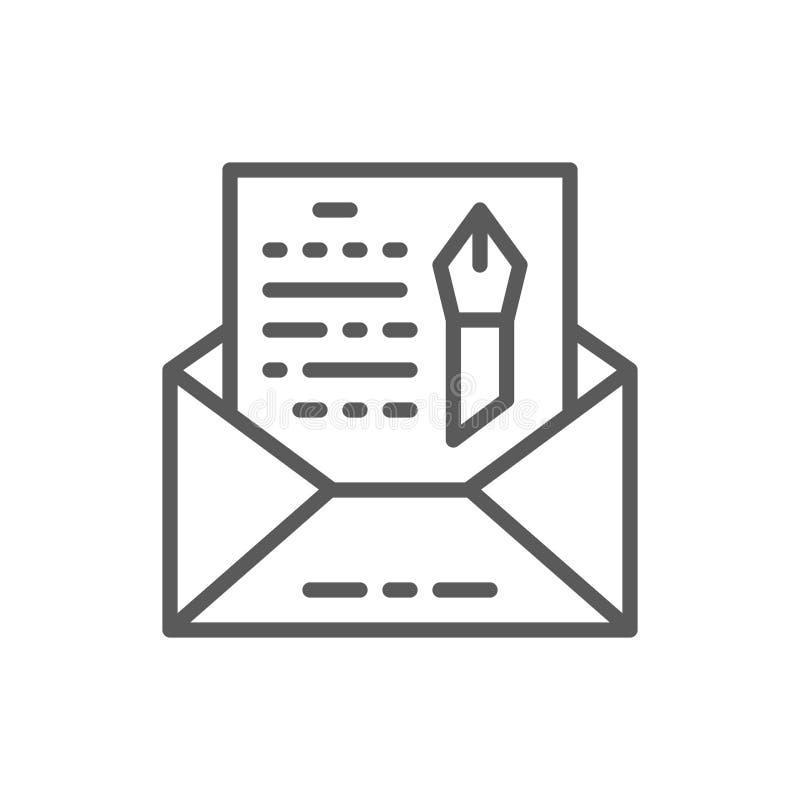 Sobre, novela, línea a pulso icono de la letra ilustración del vector
