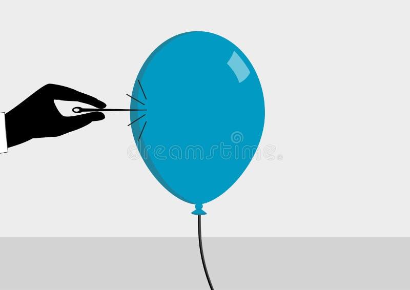 Sobre para estallar la burbuja Ejemplo del vector para el concepto de la crisis financiera ilustración del vector