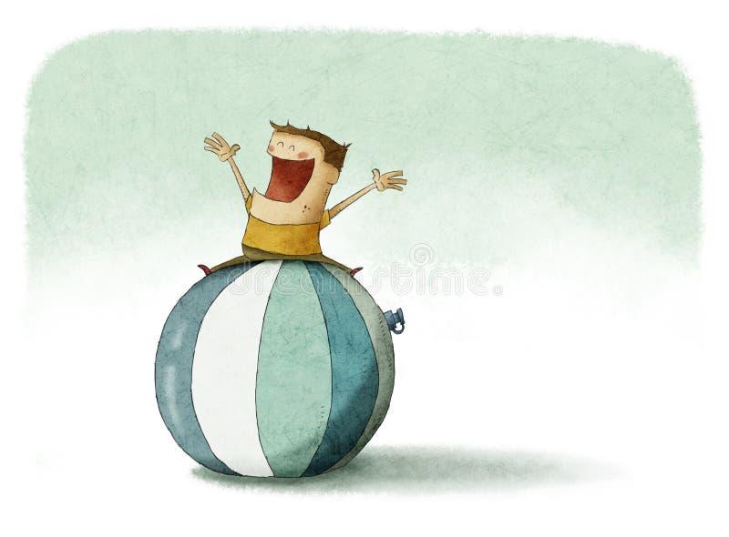 Sobre a parte superior de uma bola de praia gigante ilustração stock