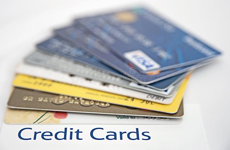 Sobre pedido em cartões de crédito. imagem de stock royalty free