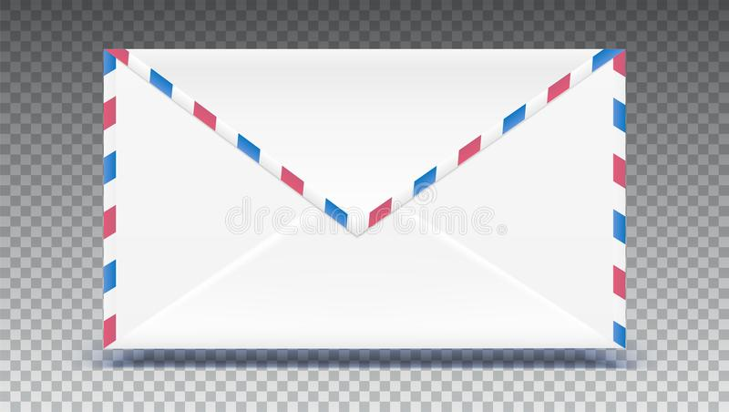 Sobre retro del correo Forme con el efecto de la textura aislado sobre fondo transparente El ejemplo del vector 3D, alista para stock de ilustración