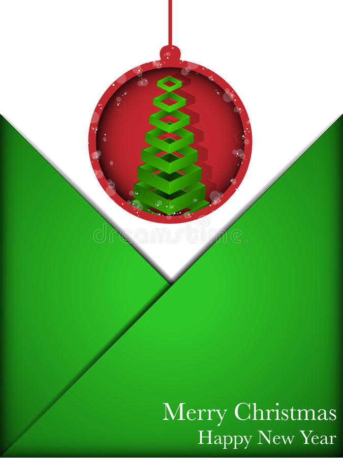 Sobre rojo y verde de la tarjeta de la Feliz Navidad ilustración del vector
