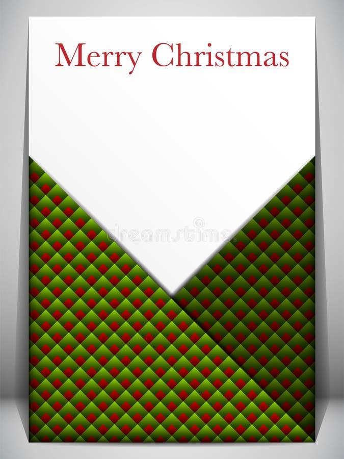 Sobre rojo y verde de la tarjeta de la Feliz Navidad libre illustration