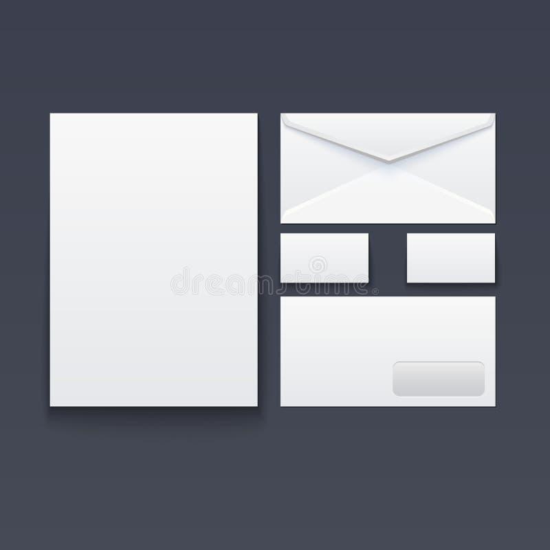 Sobre, tarjeta de visita y papel en blanco stock de ilustración
