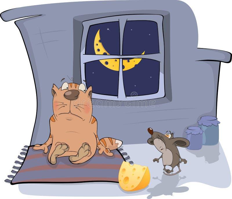 Sobre um gato e um rato. Uma reunião. Desenhos animados ilustração do vetor