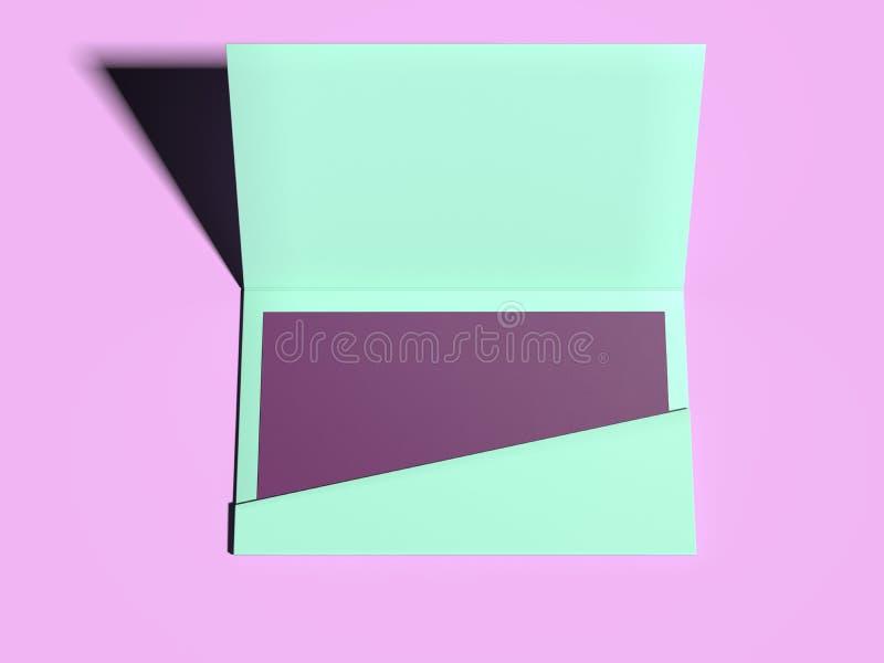Sobre verde con la hoja en blanco púrpura representación 3d libre illustration
