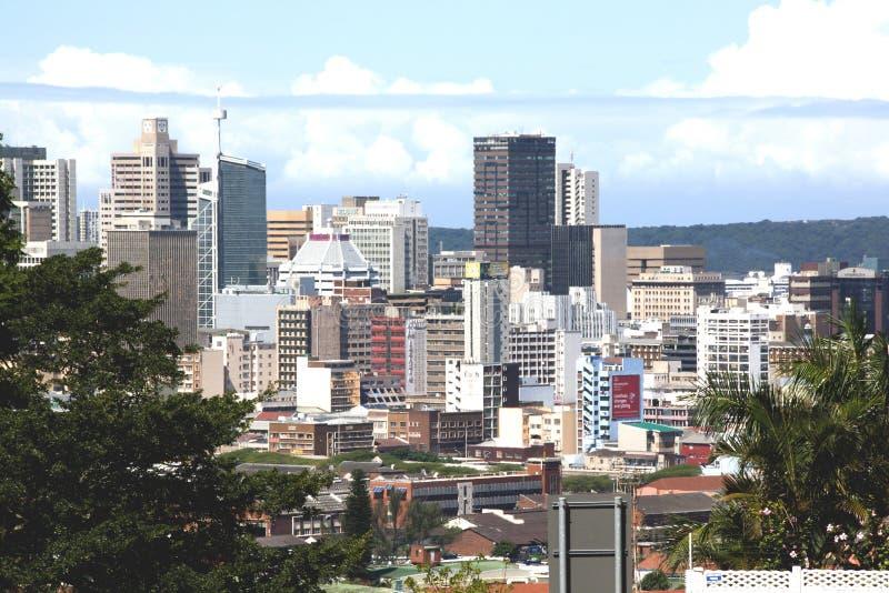 Sobre vista del distrito financiero central en Durban imagenes de archivo