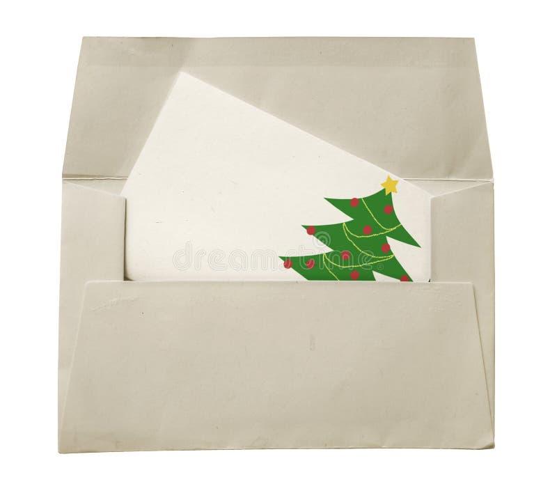 Sobre y tarjeta de Navidad fotografía de archivo