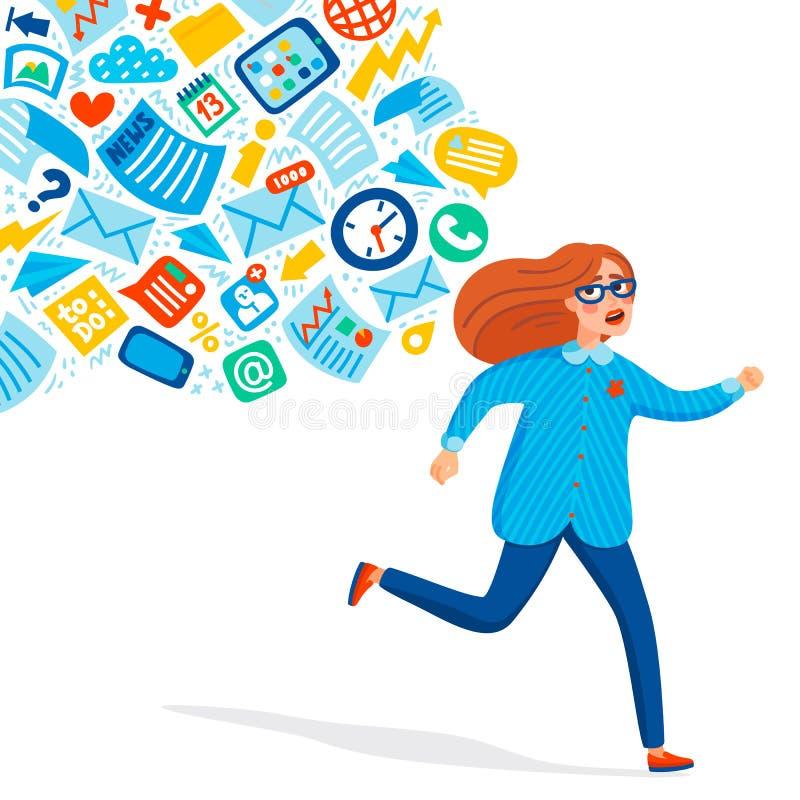 Sobrecarregamento da entrada Conceito da sobrecarga de informação Jovens mulheres que correm longe do córrego da informação que l ilustração do vetor