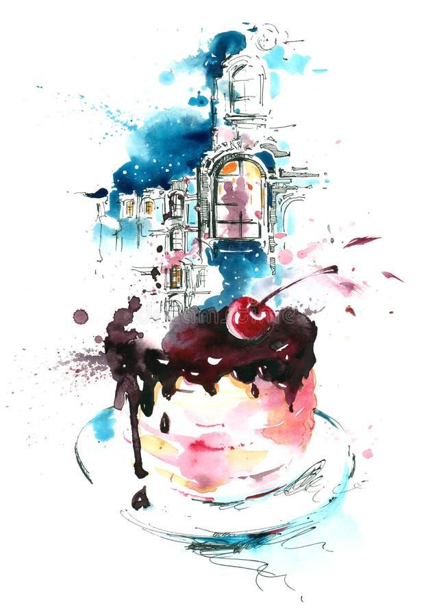 Sobremesa ilustração stock