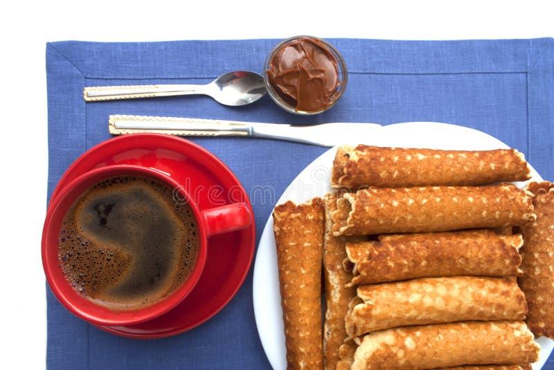Sobremesa caseiro de Tobes do waffle imagem de stock royalty free