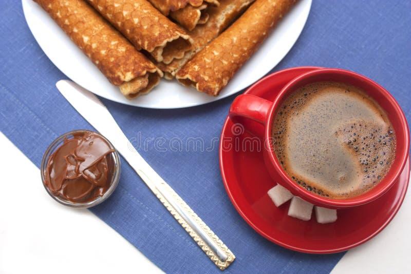 Sobremesa caseiro de Tobes do waffle foto de stock