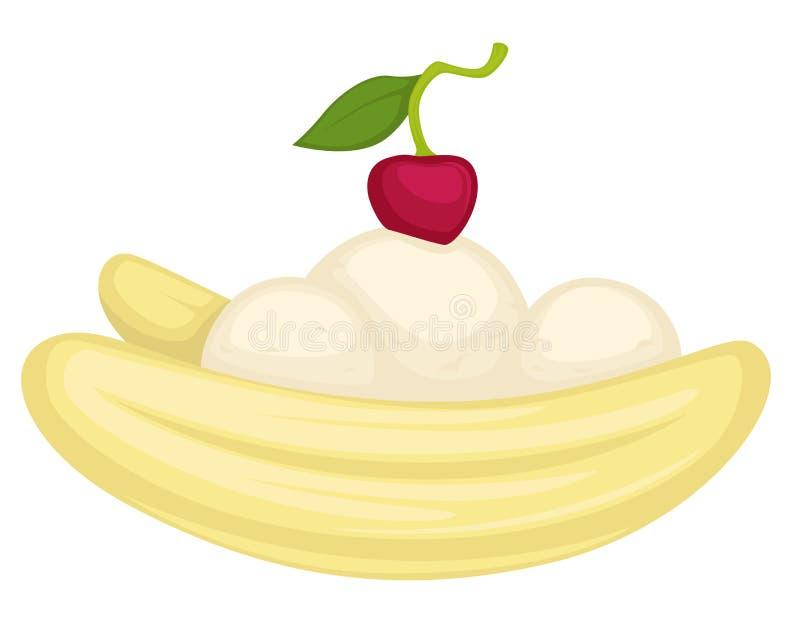 Sobremesa da banana com gelado ou musse e cereja ilustração stock