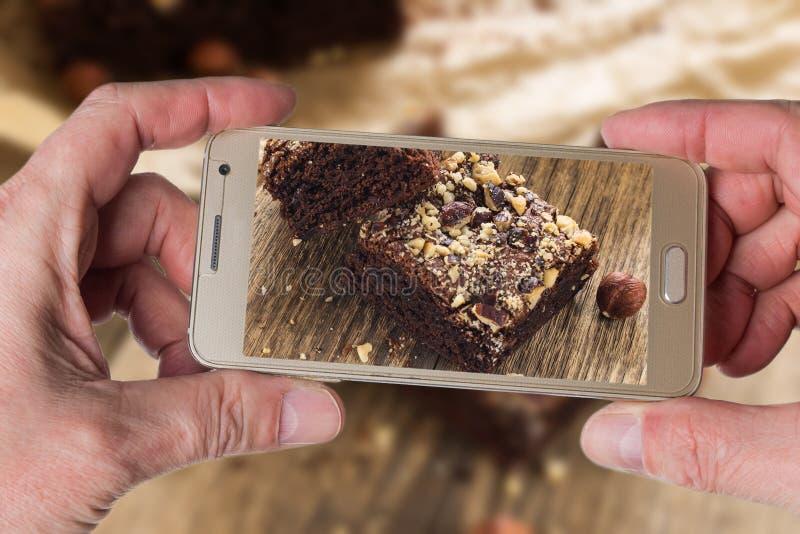 Sobremesa das brownies do chocolate fotos de stock royalty free