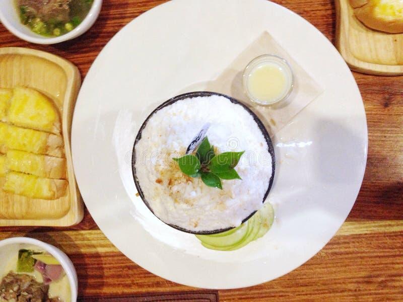 Sobremesa de Bingsu Coreia do pão da manteiga foto de stock