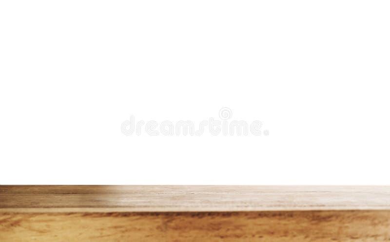 Sobremesa de madera vacía, aislada en los fondos blancos con el espacio de la copia fotografía de archivo libre de regalías