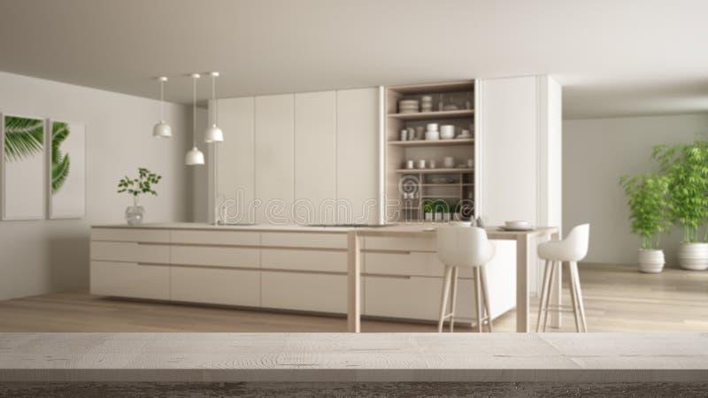 Sobremesa del vintage o primer de madera del estante, humor del zen, sobre cocina blanca y de madera minimalista contempor?nea co libre illustration