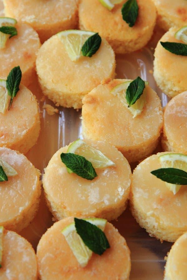 Sobremesa do limão com hortelã imagens de stock