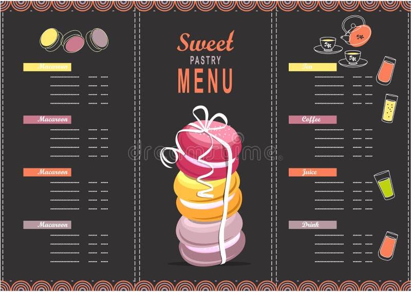 Sobremesa do molde do projeto do menu ilustração do vetor