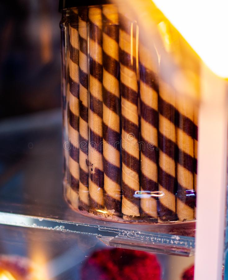 Sobremesa espiral do chocolate fotografia de stock