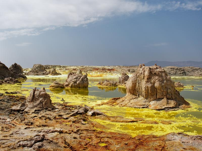 Sobremesa Etopia de Danakil do vulcano de Dallol imagens de stock