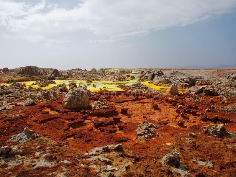 Sobremesa Etopia de Danakil do vulcano de Dallol imagem de stock royalty free