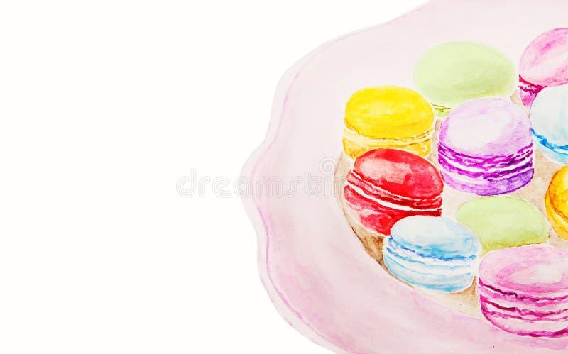 Sobremesa francesa tradicional criativa da aquarela fotos de stock