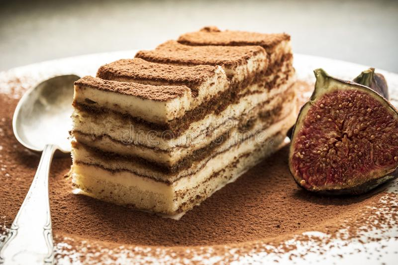 Sobremesa italiana tradicional do bolo do Tiramisu com cacau em uma placa da porcelana imagem de stock royalty free