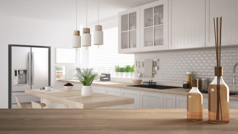 Sobremesa o estante de madera con las botellas aromáticas de los palillos sobre cocina blanca escandinava moderna borrosa con los ilustración del vector