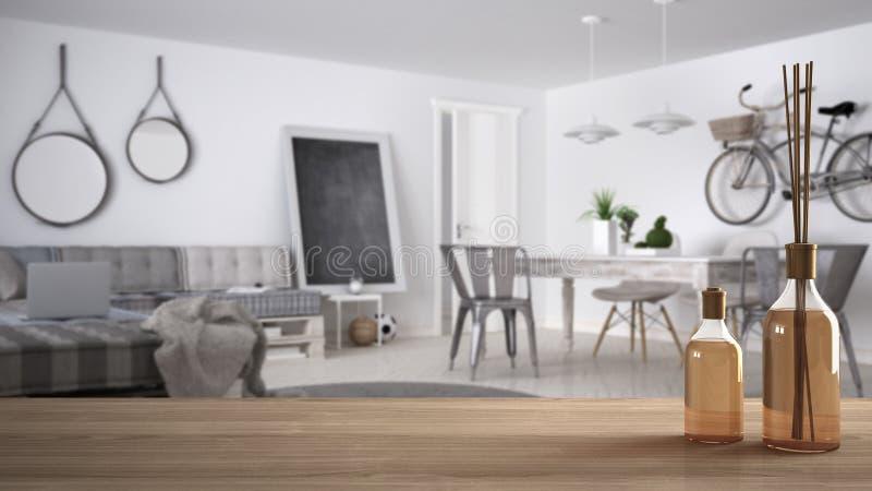Sobremesa o estante de madera con las botellas aromáticas de los palillos sobre sala de estar moderna contemporánea borrosa en el libre illustration