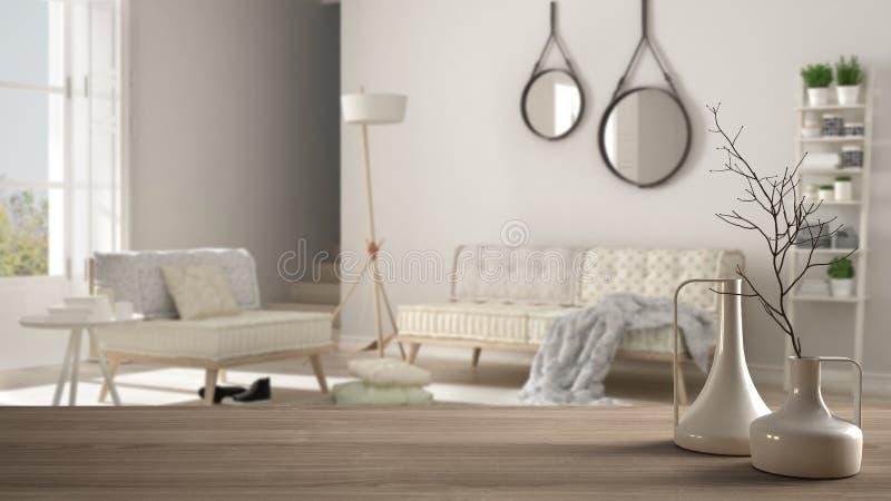 Sobremesa o estante de madera con los floreros modernos minimalistic sobre la sala de estar escandinava minimalista borrosa, inte ilustración del vector