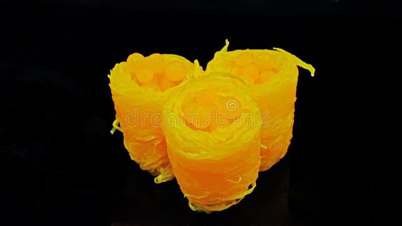 Sobremesa tailandesa - Floss doce do ovo fotos de stock