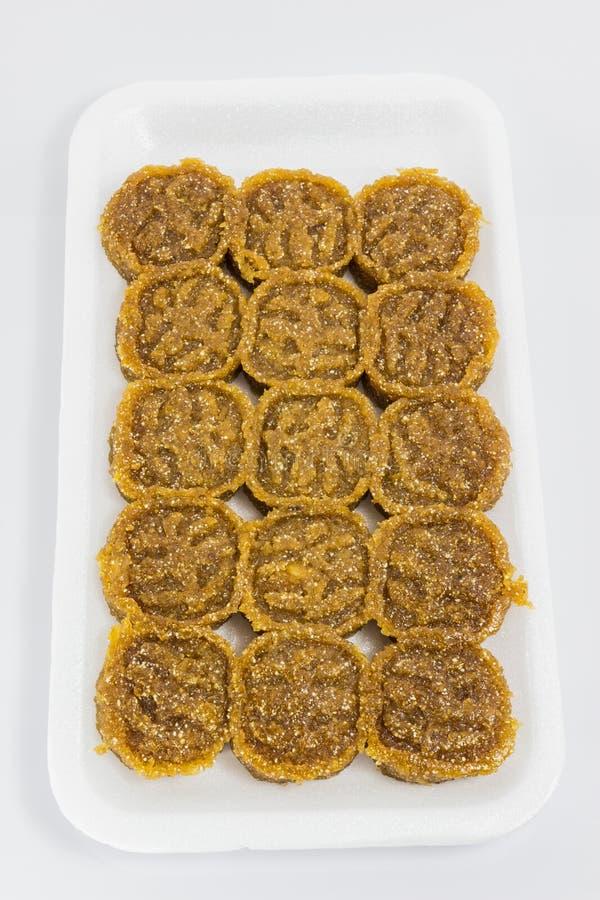 A sobremesa tailandesa tradicional chamou Kao a Turquia no bloco branco da espuma fotos de stock royalty free