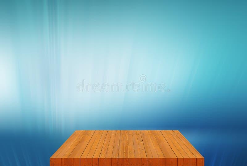 Sobremesa vacía del tablero de madera con concepto azul llano del fondo imagen de archivo libre de regalías