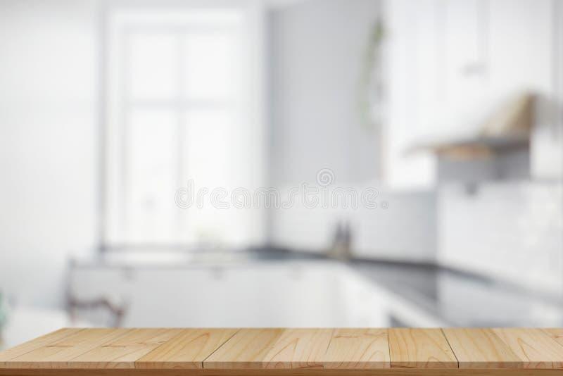Sobremesa y fondo de madera vacíos de la cocina fotos de archivo