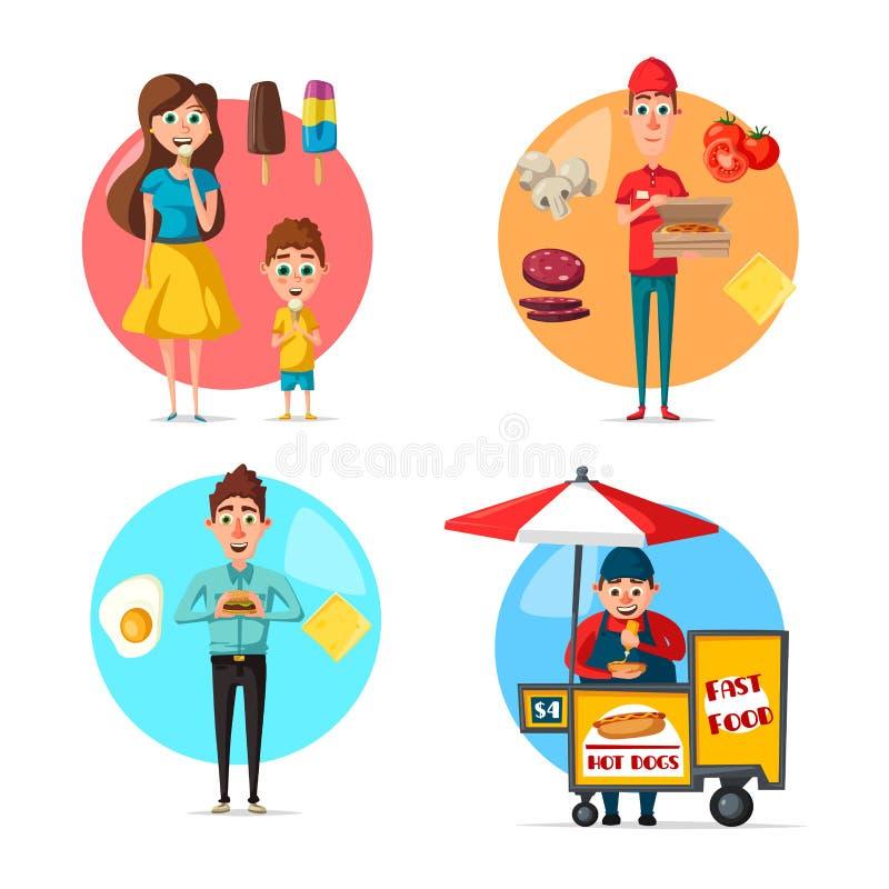 Sobremesas do alimento da rua do vetor ou bebida lisa do fastfood ilustração royalty free