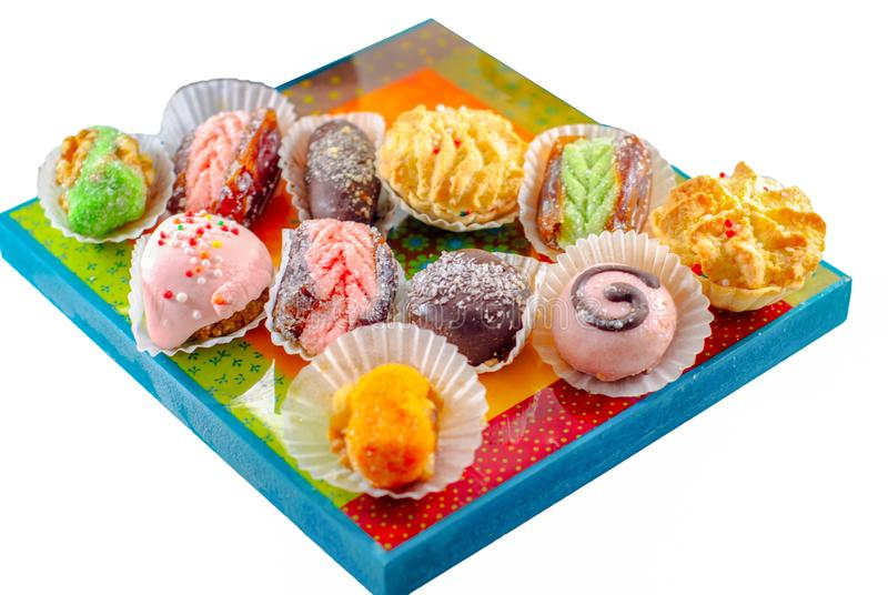 Sobremesas do Oriente M?dio Doces ?rabes Hena e Mimouna Cookies foto de stock royalty free