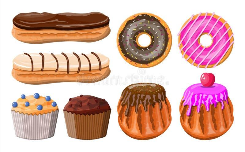 Sobremesas doces ajustadas ilustração stock