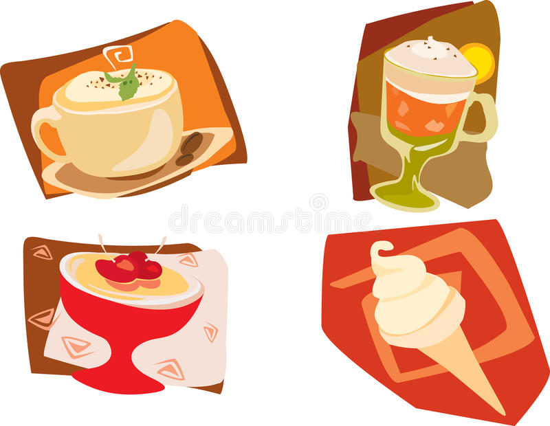 Sobremesas e bebida ilustração do vetor