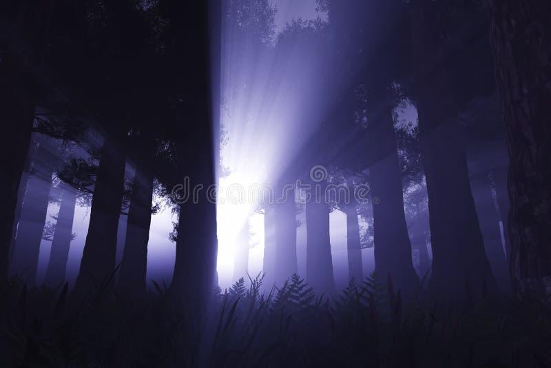 Sobrenatural assina dentro a floresta 3D da noite rendem 1 ilustração do vetor