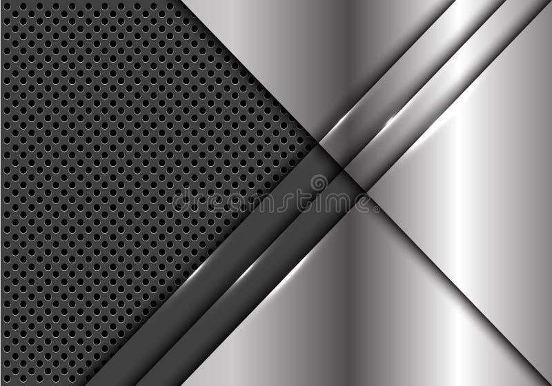 Sobreposição abstrata da placa de prata no vetor futurista moderno do fundo do projeto metálico cinzento da malha do círculo ilustração do vetor