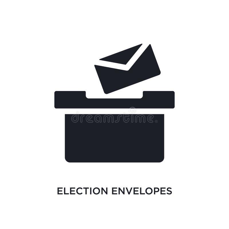 sobres de la elección e icono aislado caja ejemplo simple del elemento de iconos políticos del concepto sobres y caja de la elecc stock de ilustración