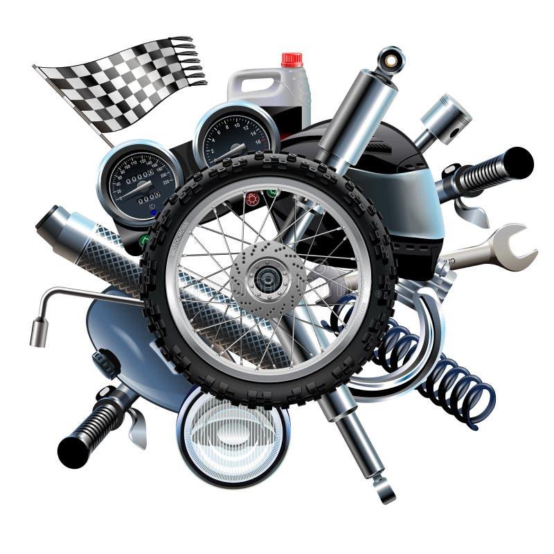 Sobressalentes da motocicleta do vetor com roda ilustração do vetor