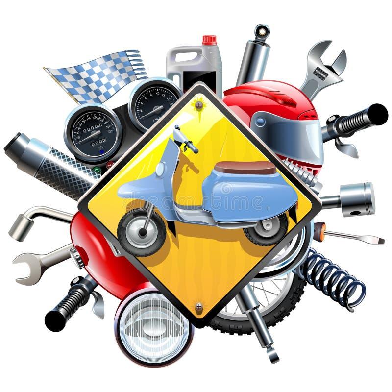 Sobressalentes da motocicleta do vetor com 'trotinette' ilustração do vetor