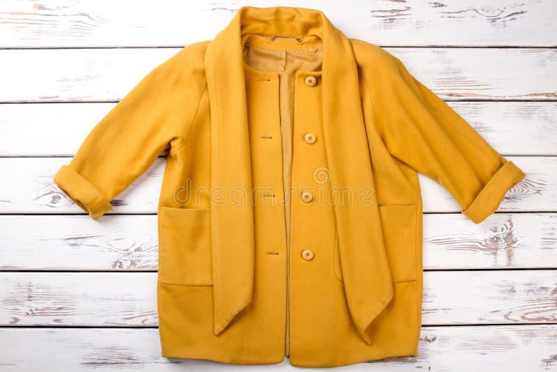 Sobretudo amarelo elegante fêmea da caxemira imagens de stock
