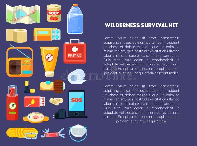 Sobrevivência Kit Banner Template da região selvagem com lugar para o texto, necessidades do curso, kit de primeiros socorros, ma ilustração do vetor