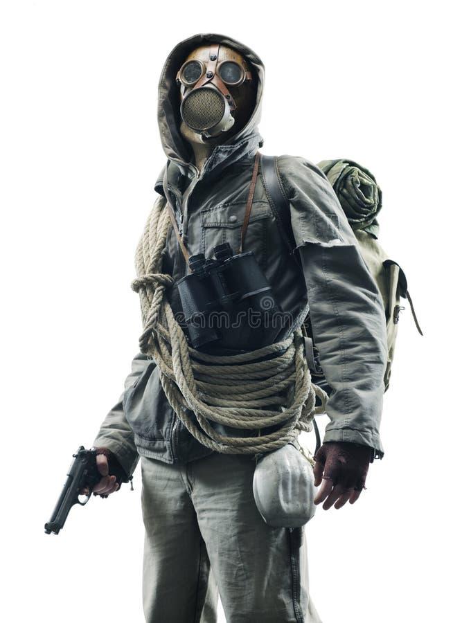 Sobrevivente apocalíptico do cargo na máscara de gás foto de stock royalty free