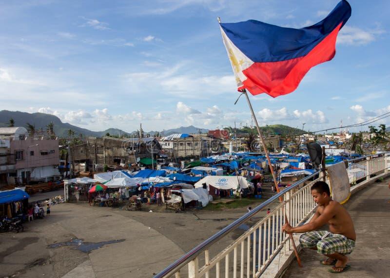 Sobreviventes de Haiyan do tufão fotografia de stock royalty free