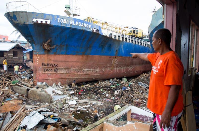 Sobreviventes de Haiyan do tufão fotos de stock