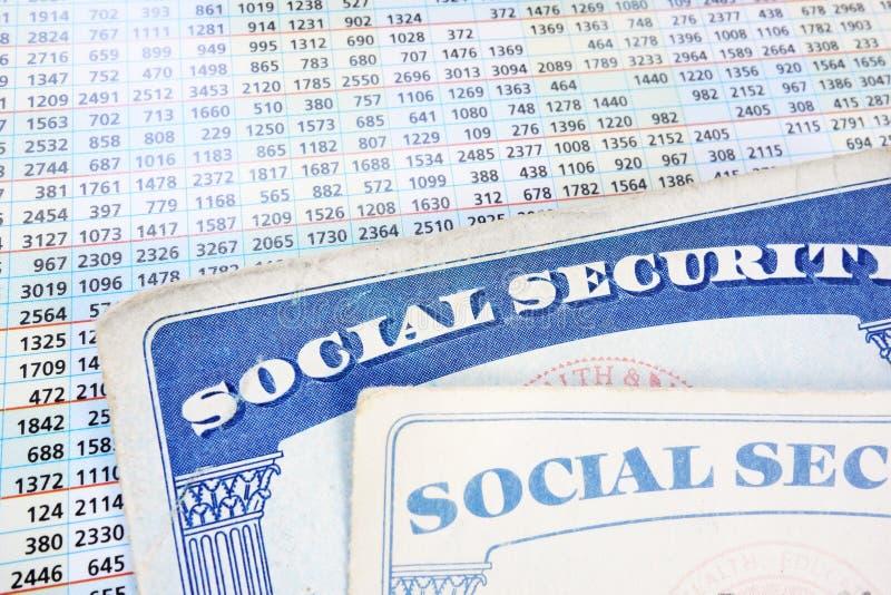 Soc-Versicherungskarten und -zahlen stockfotografie